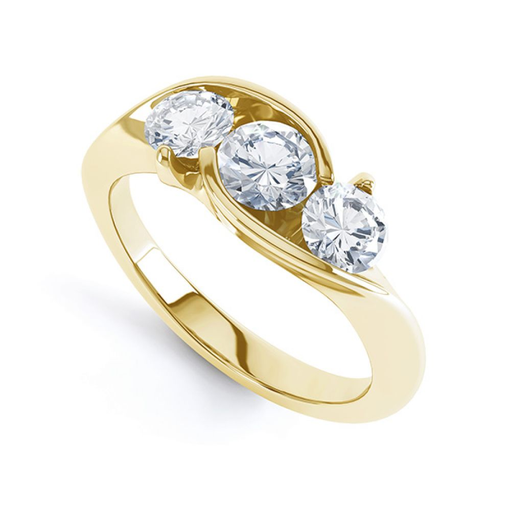 Isabella Modern Round 3 Stone Crossover Diamond Ring Perspective View in Yellow Gold