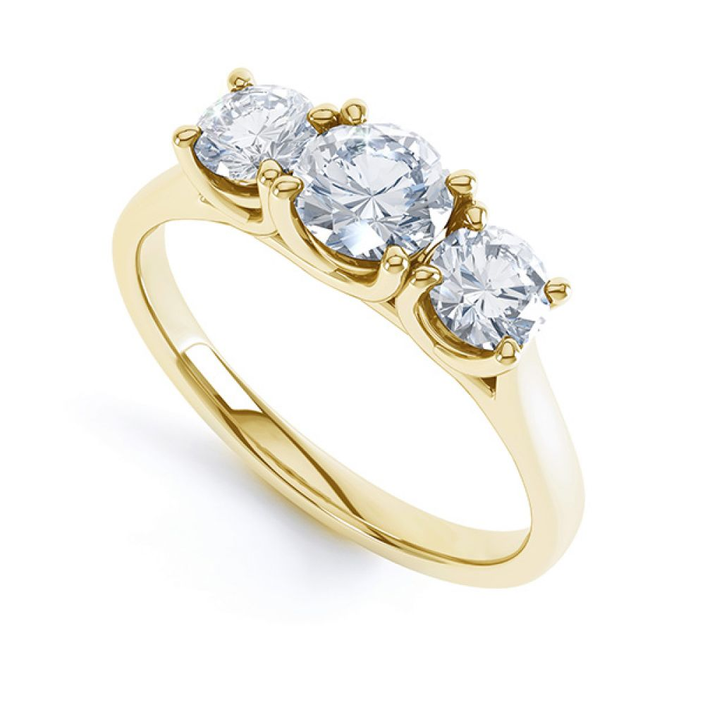 Brooklyn - Modern 3 stone diamond engagement ring perspective view yellow gold