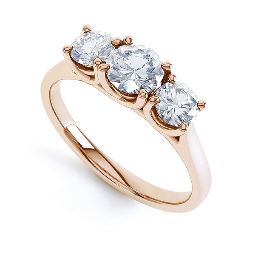 Brooklyn - Modern 3 stone diamond engagement ring perspective view rose gold