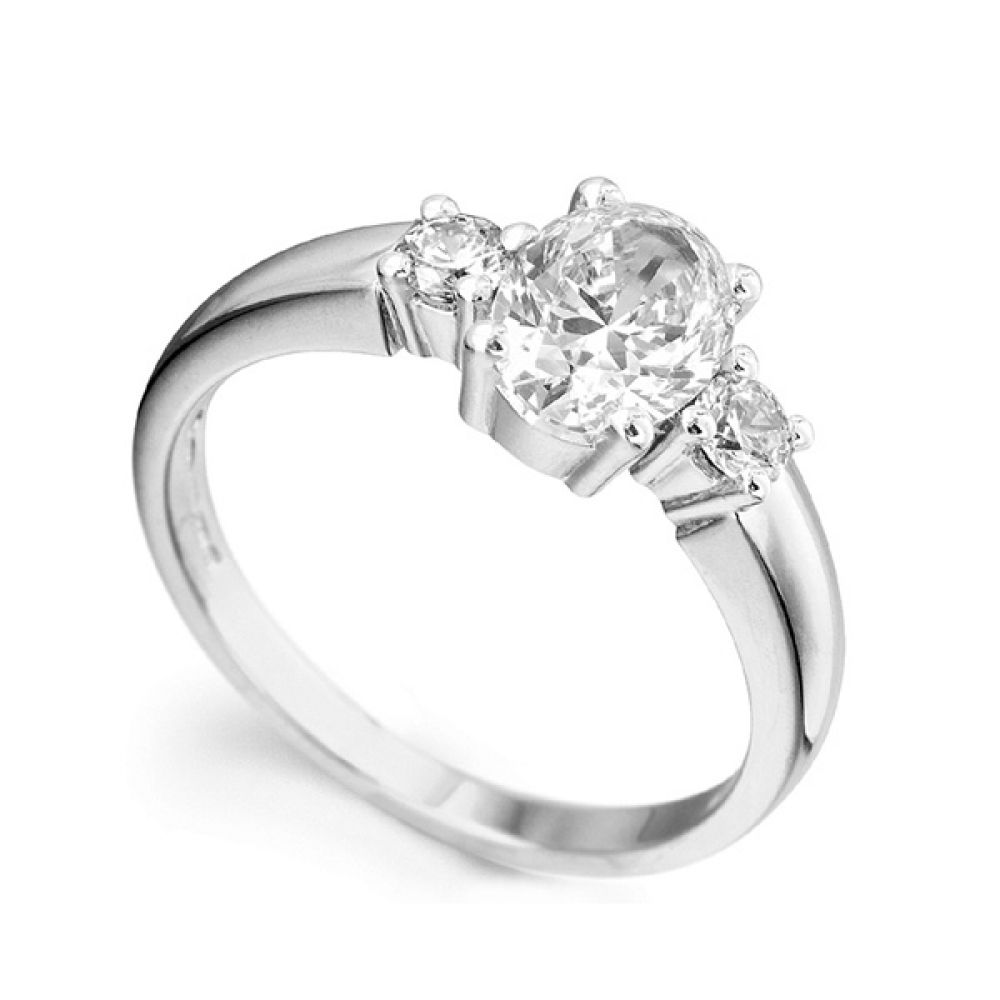 3 Stone Oval & Round Diamond Engagement Ring
