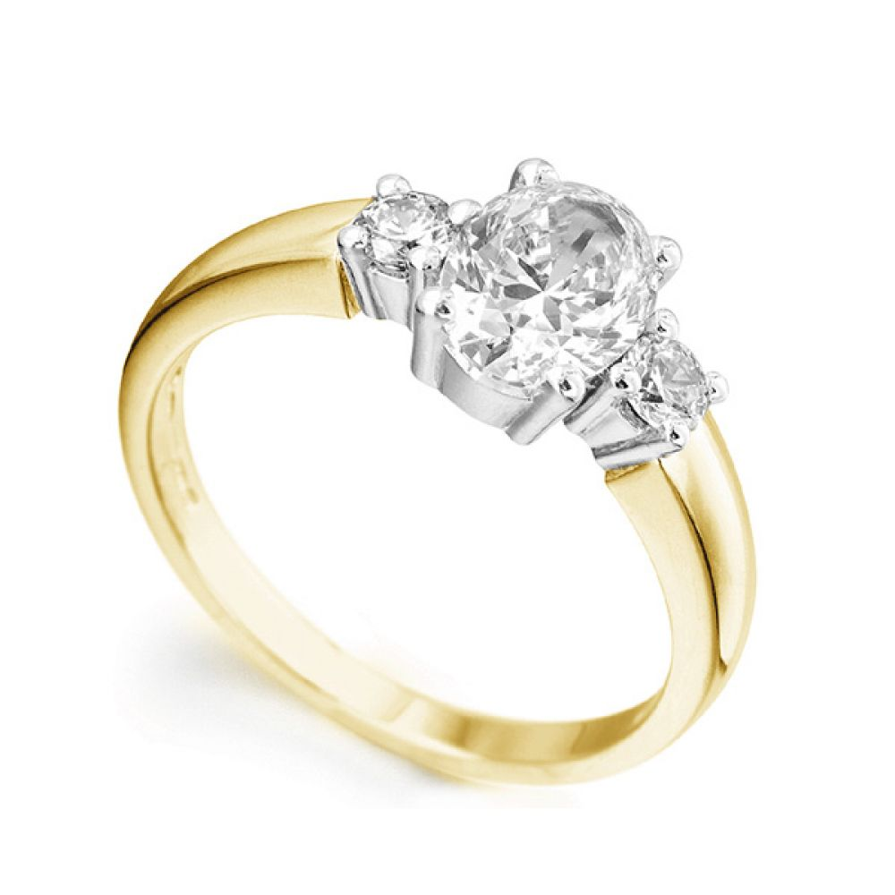 3 Stone Oval & Round Diamond Engagement Ring In Yellow Gold