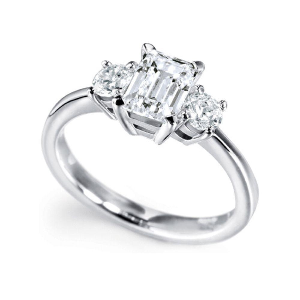 3 Stone Emerald Cut & Round Diamond Engagement Ring