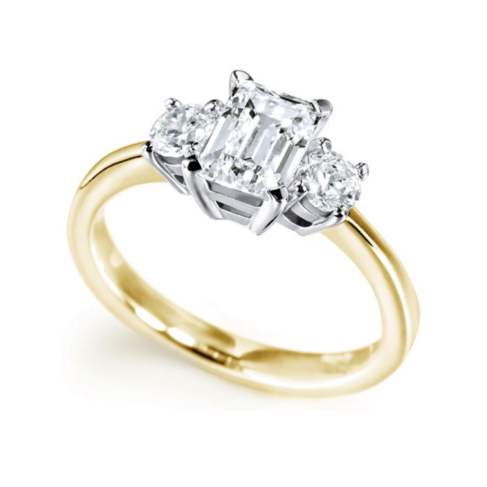 3 Stone Emerald Cut & Round Diamond Engagement Ring In Yellow Gold