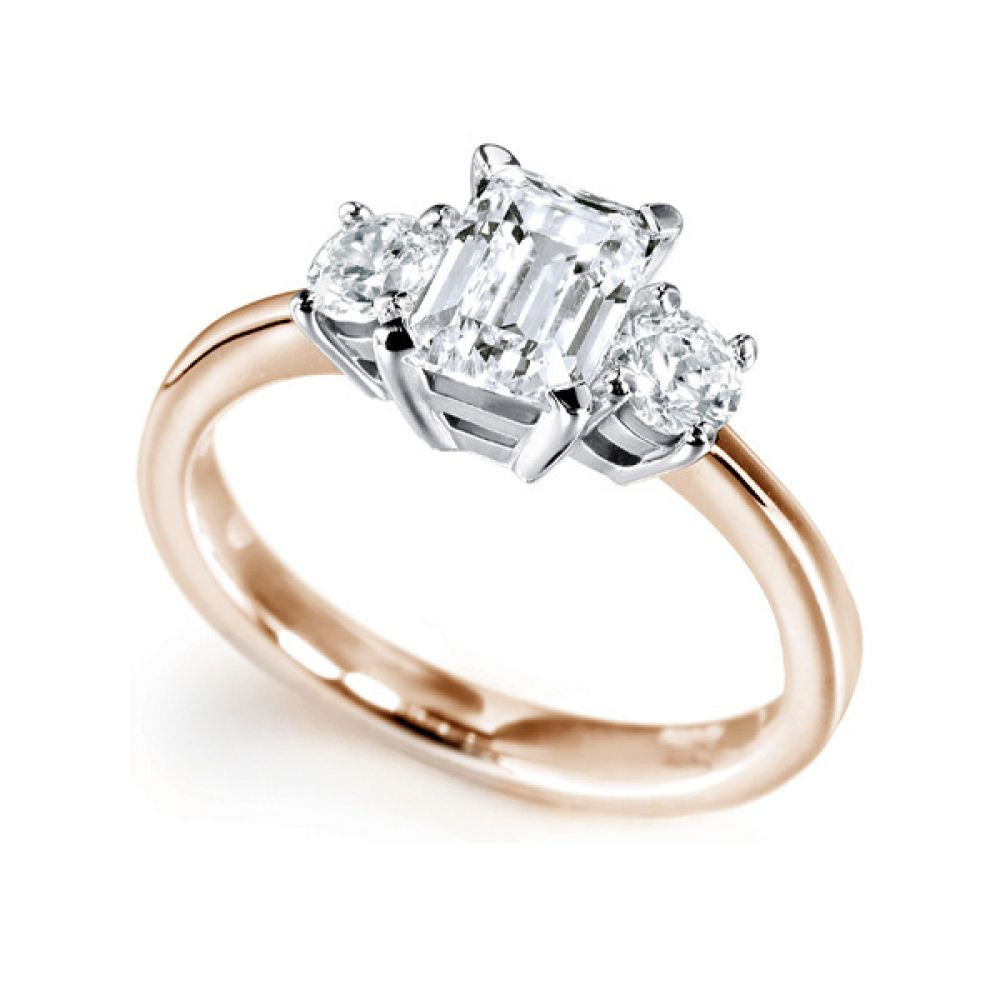 3 Stone Emerald Cut & Round Diamond Engagement Ring In Rose Gold