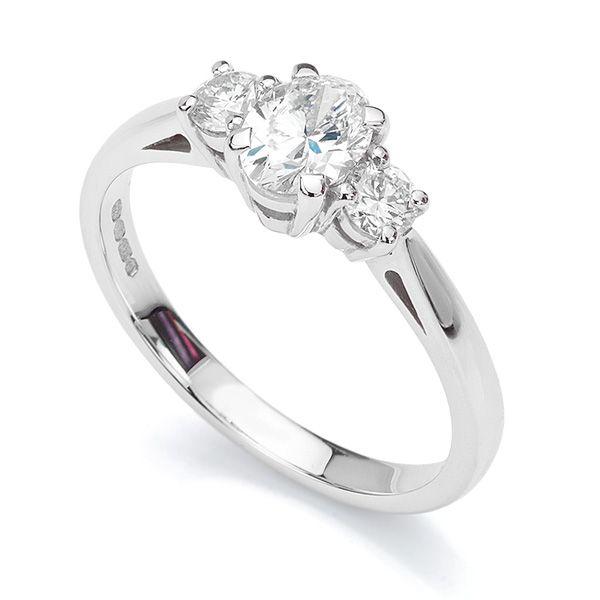 4def3484d166 Three Stone Oval   Round Diamond Engagement Ring