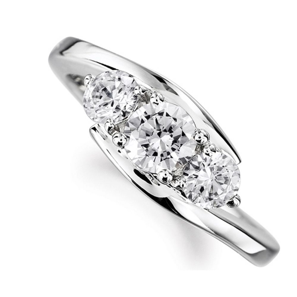 Modern 3 Stone Diamond Trilogy Style Ring