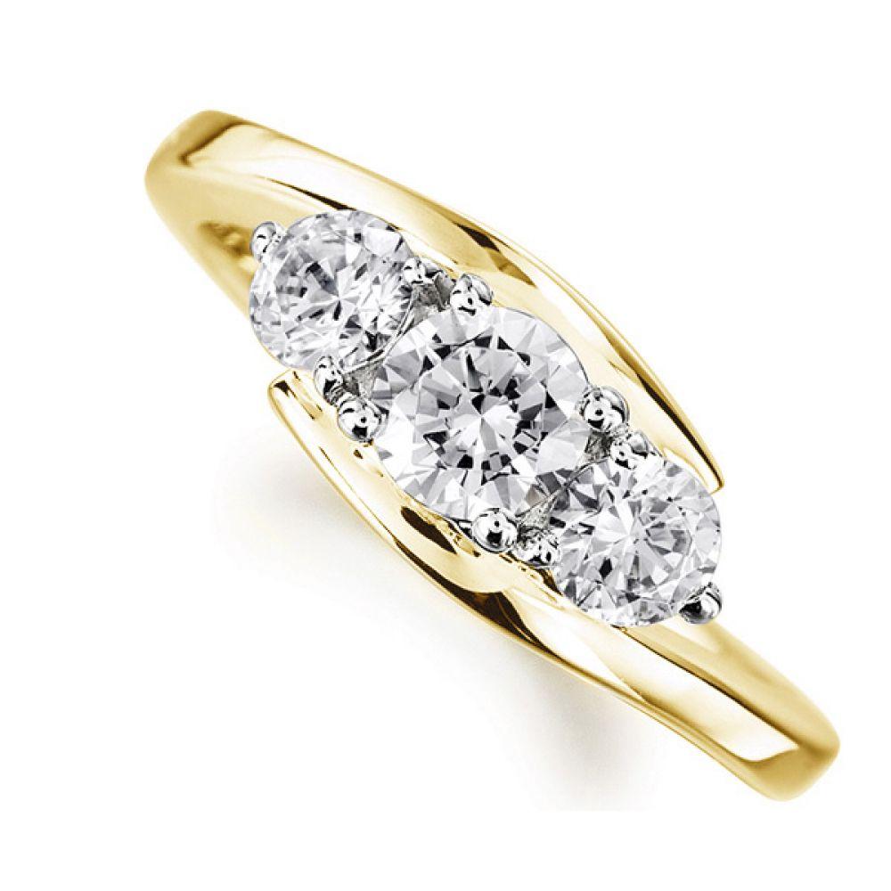 Modern 3 Stone Diamond Trilogy Style Ring Yellow Gold