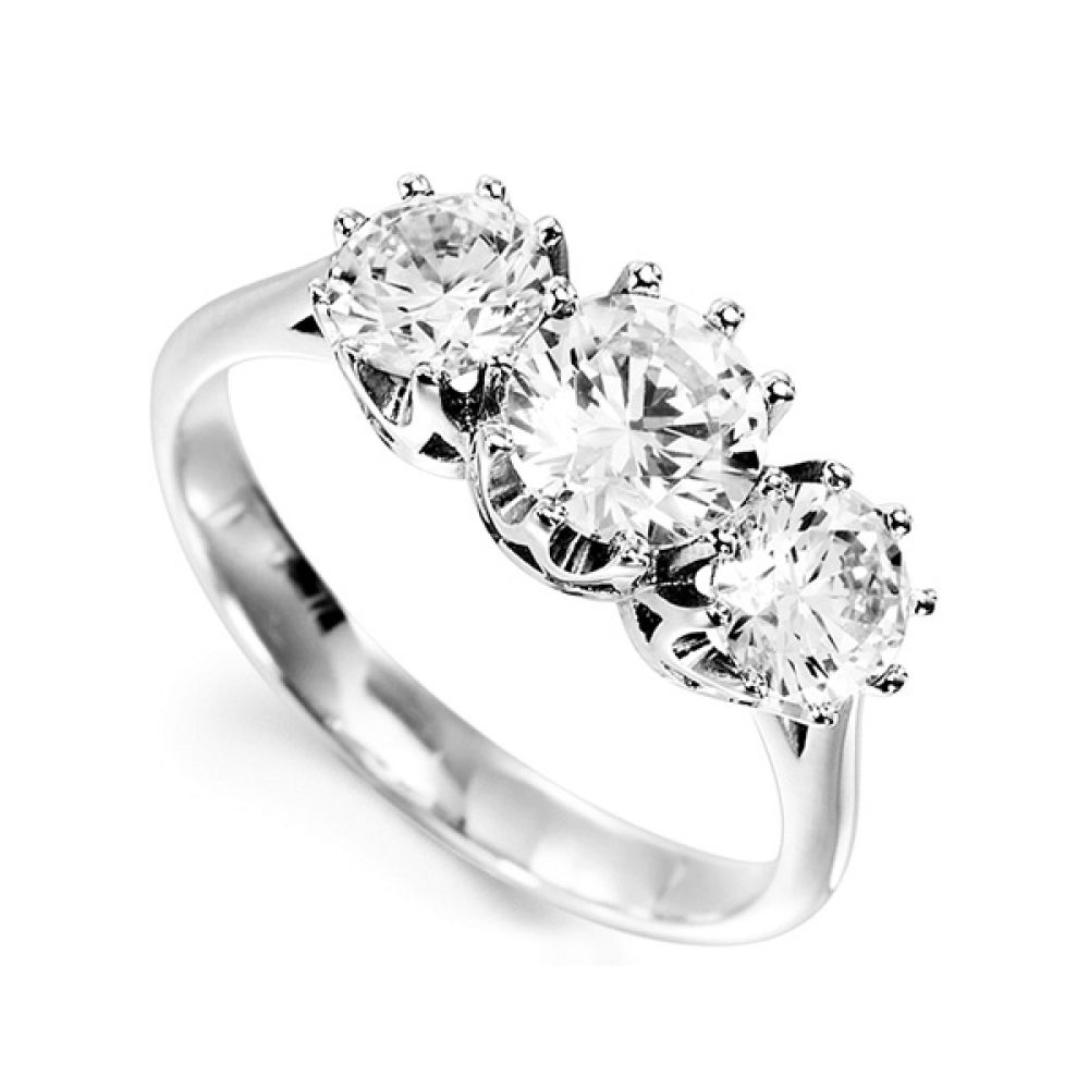 Classic 3 Stone Claw Set Diamond Ring
