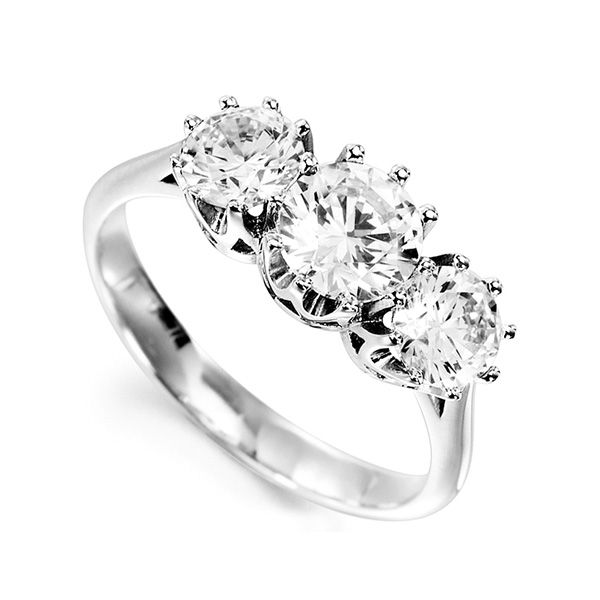 Classic 3 Stone Claw Set Diamond Ring Main Image