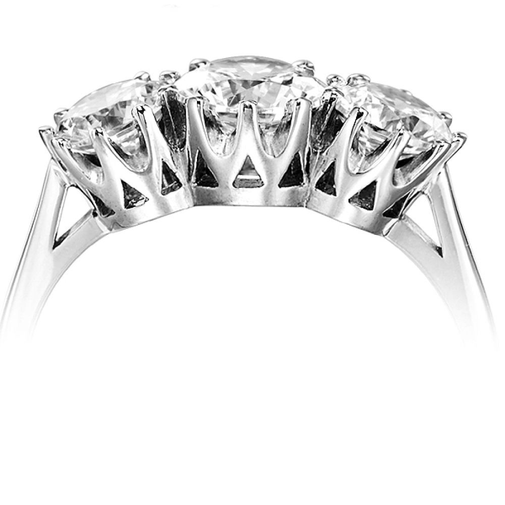 Classic 3 Stone Claw Set Diamond Ring Side View