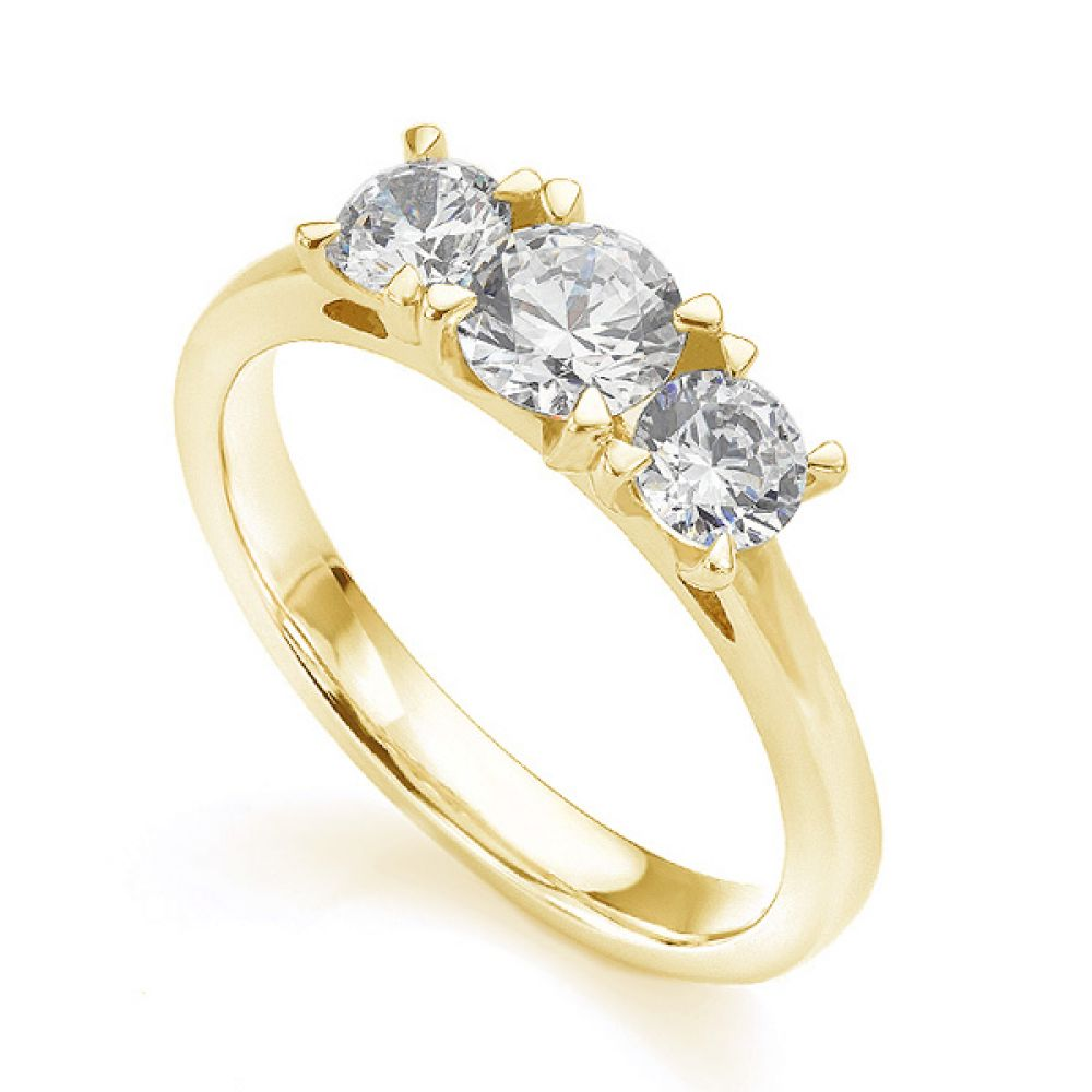Ciel wedfit three stone engagement ring in yellow gold