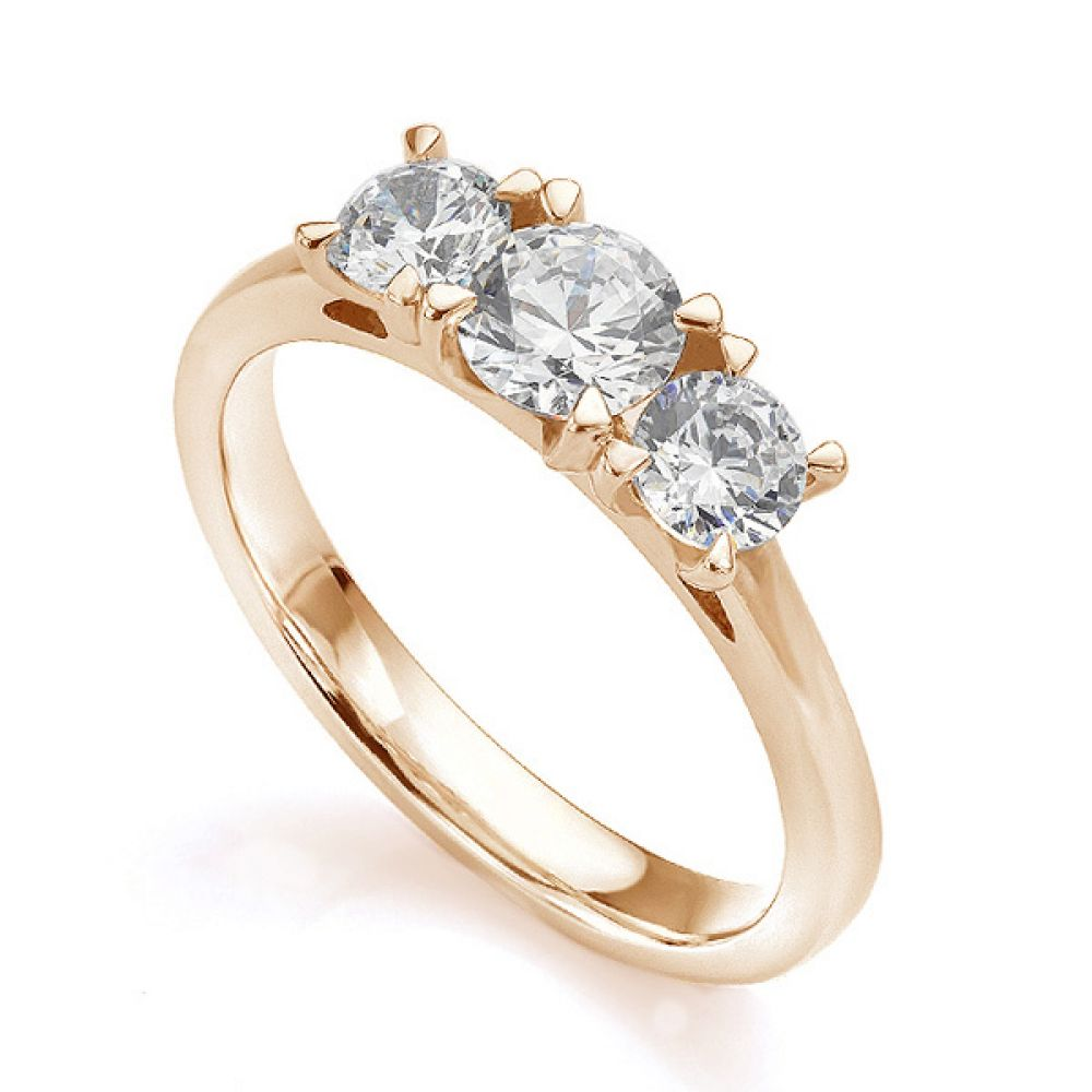 Ciel wedfit three stone engagement ring in rose gold