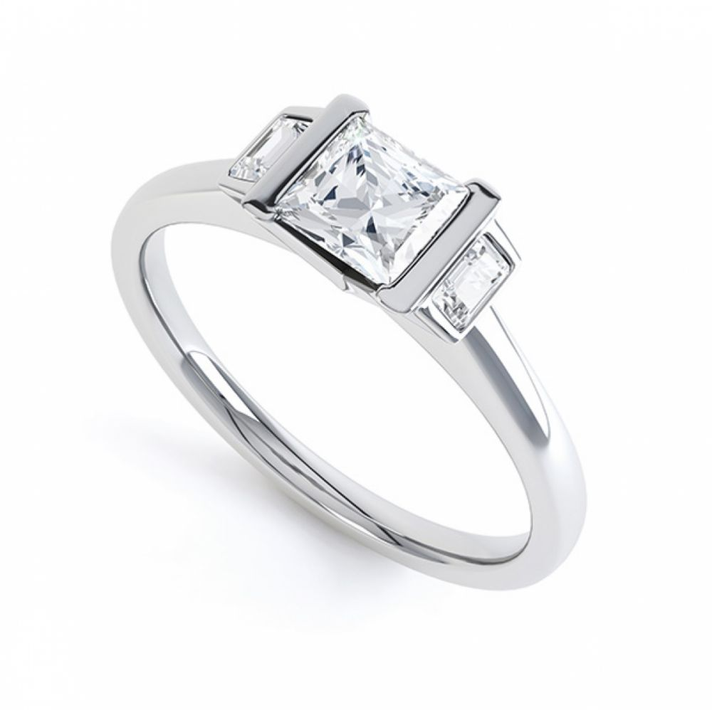 Art Deco 3 Stone Diamond Engagement Ring