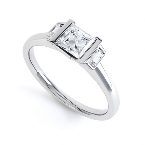Art Deco 3 Stone Engagement Ring Main Image