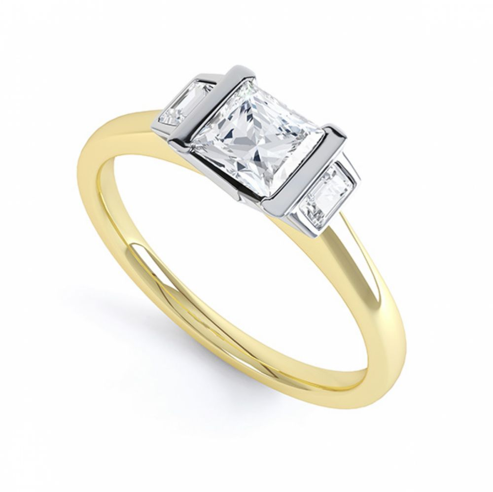 Art Deco 3 Stone Diamond Engagement Ring Yellow Gold