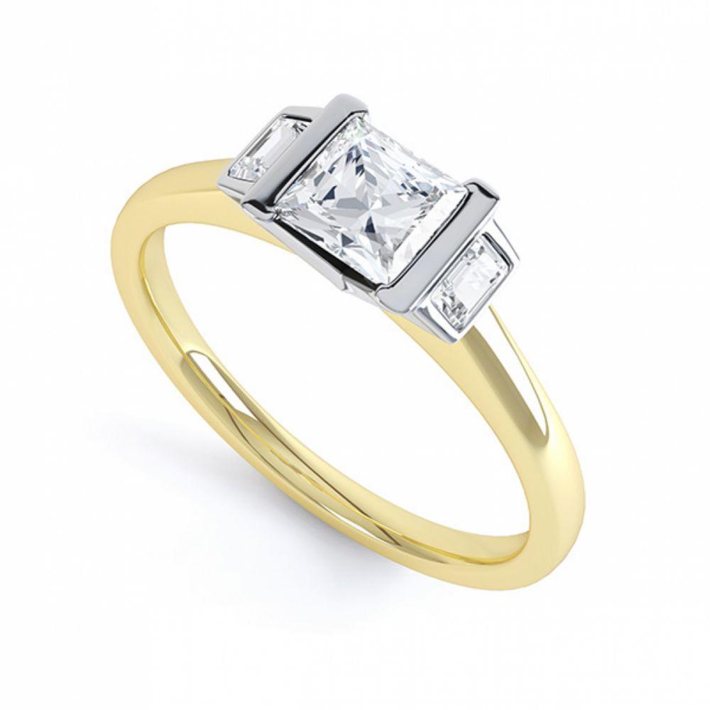 Art Deco 3 Stone Diamond Engagement Ring Yellow Gold