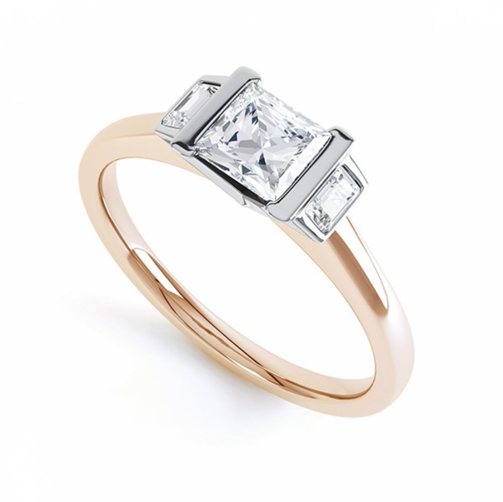 Art Deco 3 Stone Diamond Engagement Ring In Rose Gold