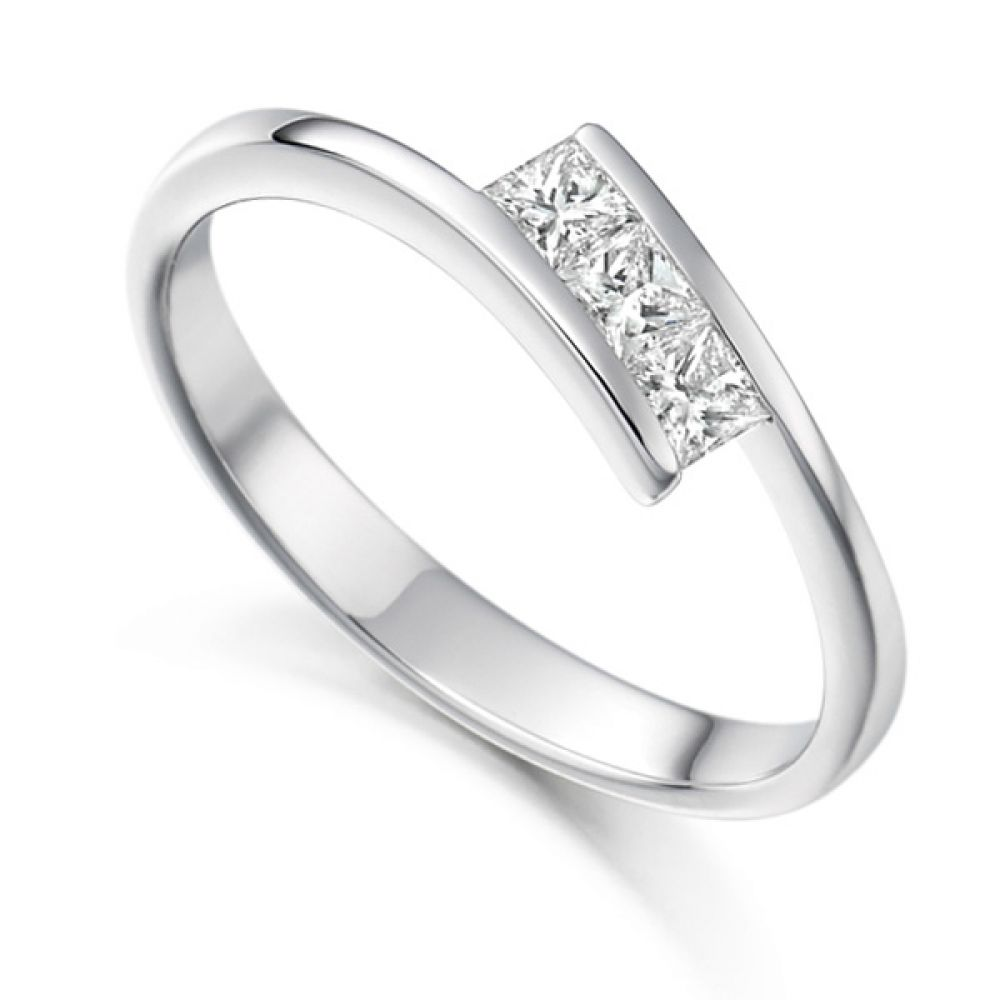 3 Stone Tension Set Princess Cut Diamond Ring
