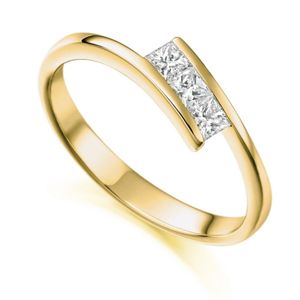 3 Stone Tension Set Princess Cut Diamond Ring In Yellow Gold