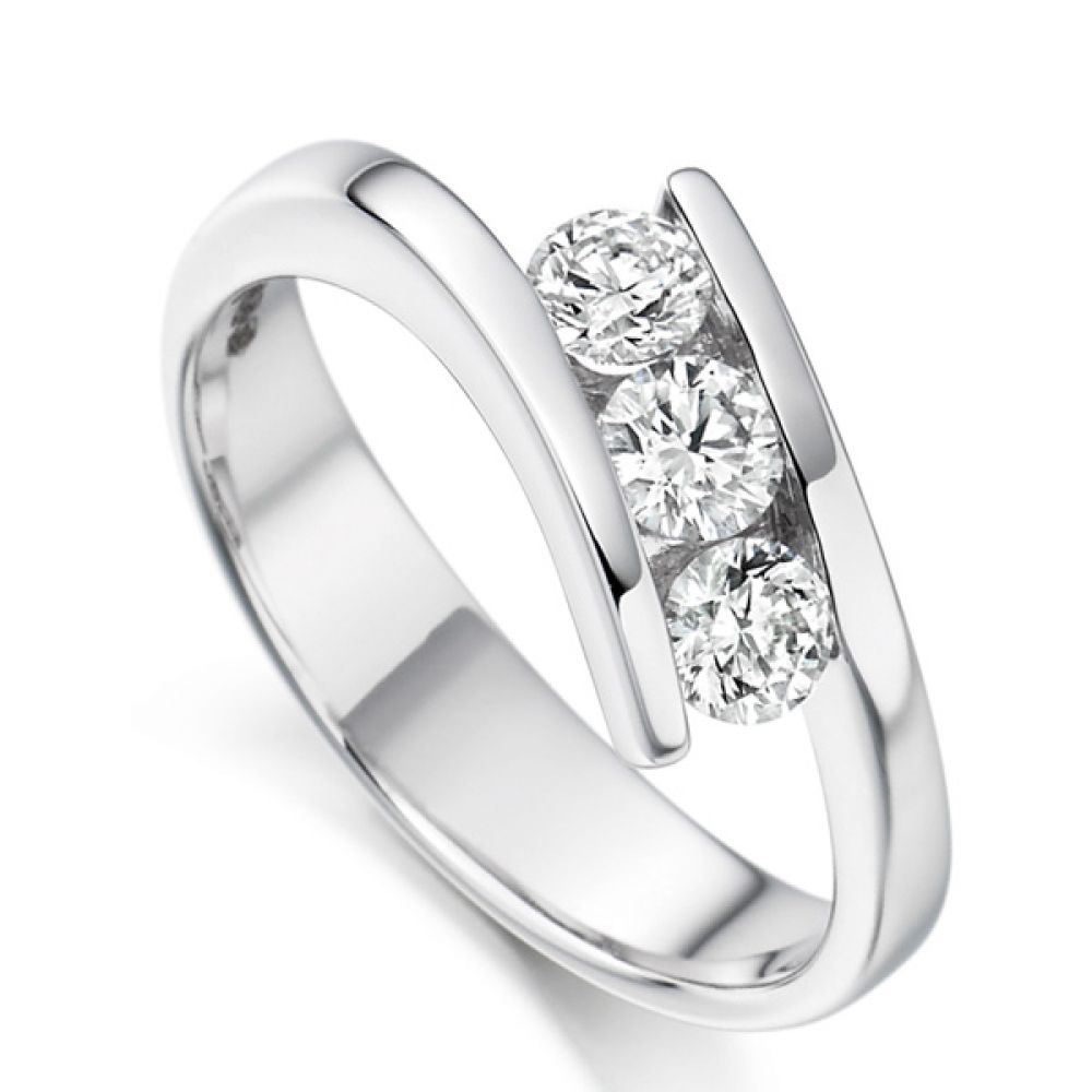 3 Stone Tension Set Round Diamond Ring