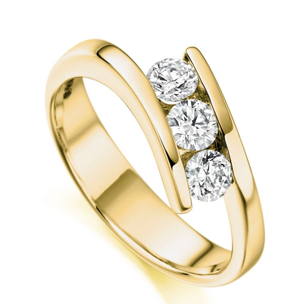 3 Stone Tension Set Round Diamond Ring In Yellow Gold