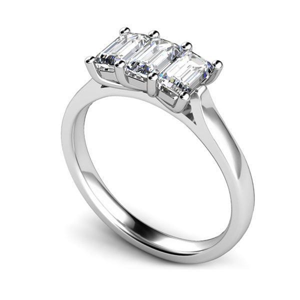3 Stone Emerald Cut Diamond Engagement Ring Main Image