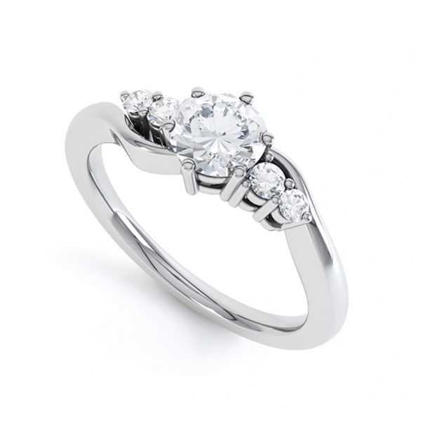 5 Stone Diamond Twist Ring Main Image
