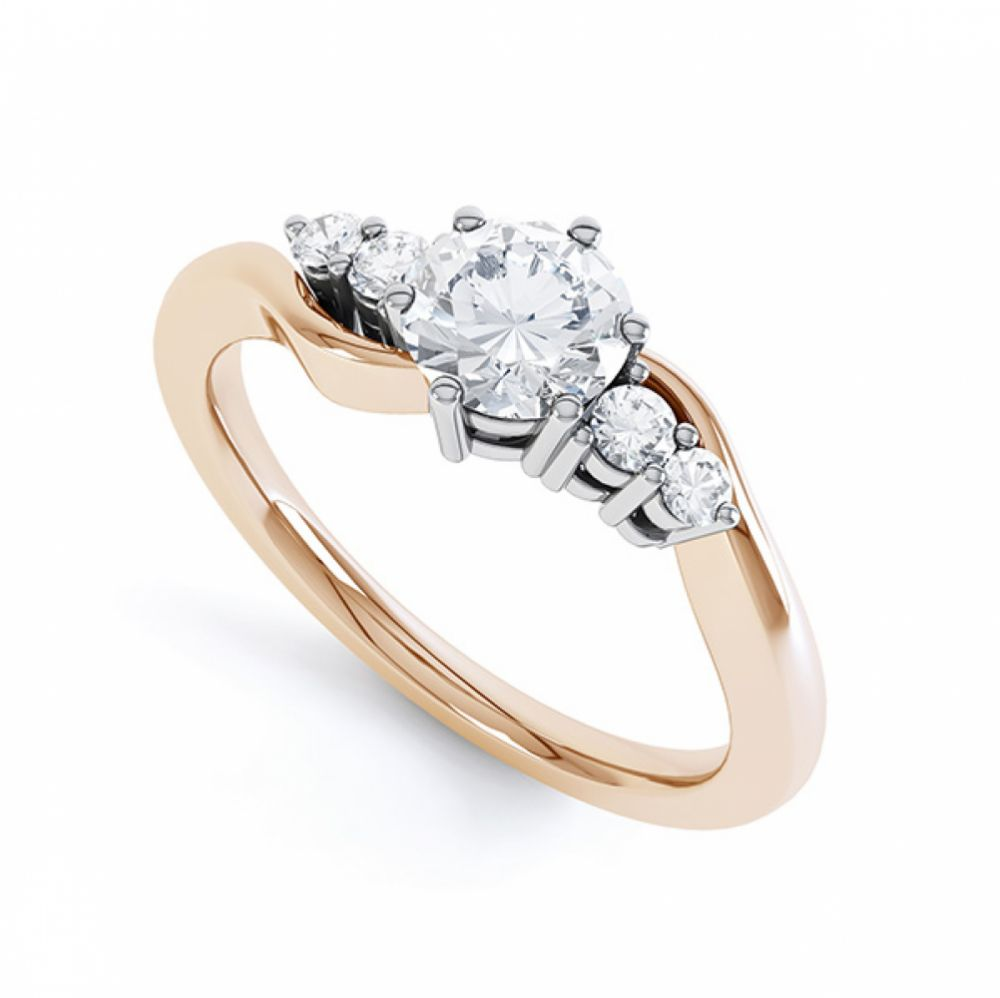 5 Stone Diamond Twist Ring In Rose Gold