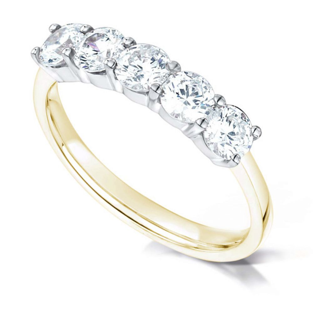 5 Stone Diamond Ring with Claw Setting In Yellow Gold