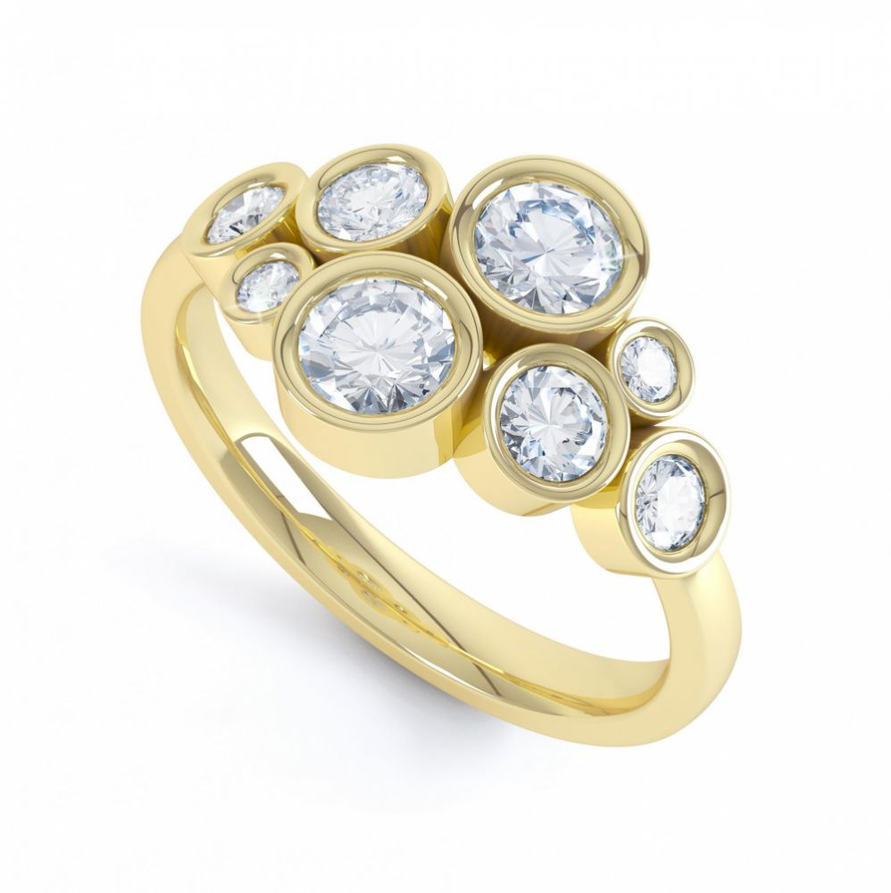 8 Stone Diamond Bubble Ring In Yellow Gold