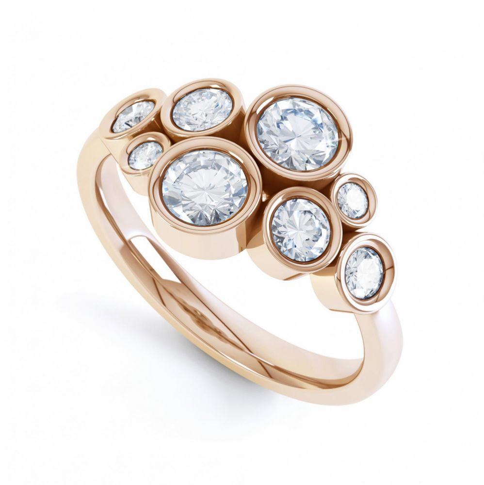 8 Stone Diamond Bubble Ring Rose Gold
