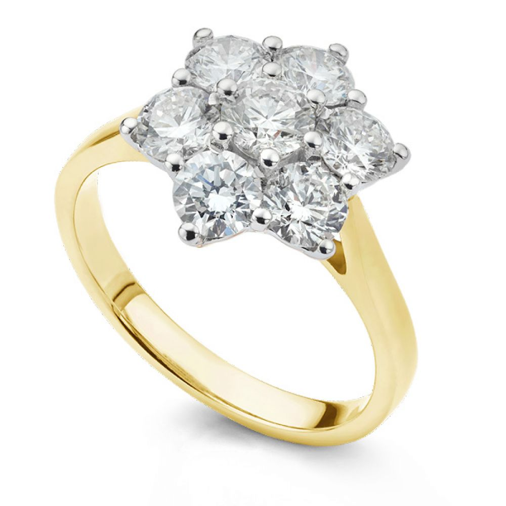 Daisy 7 Stone Diamond Cluster Engagement Ring In Yellow Gold