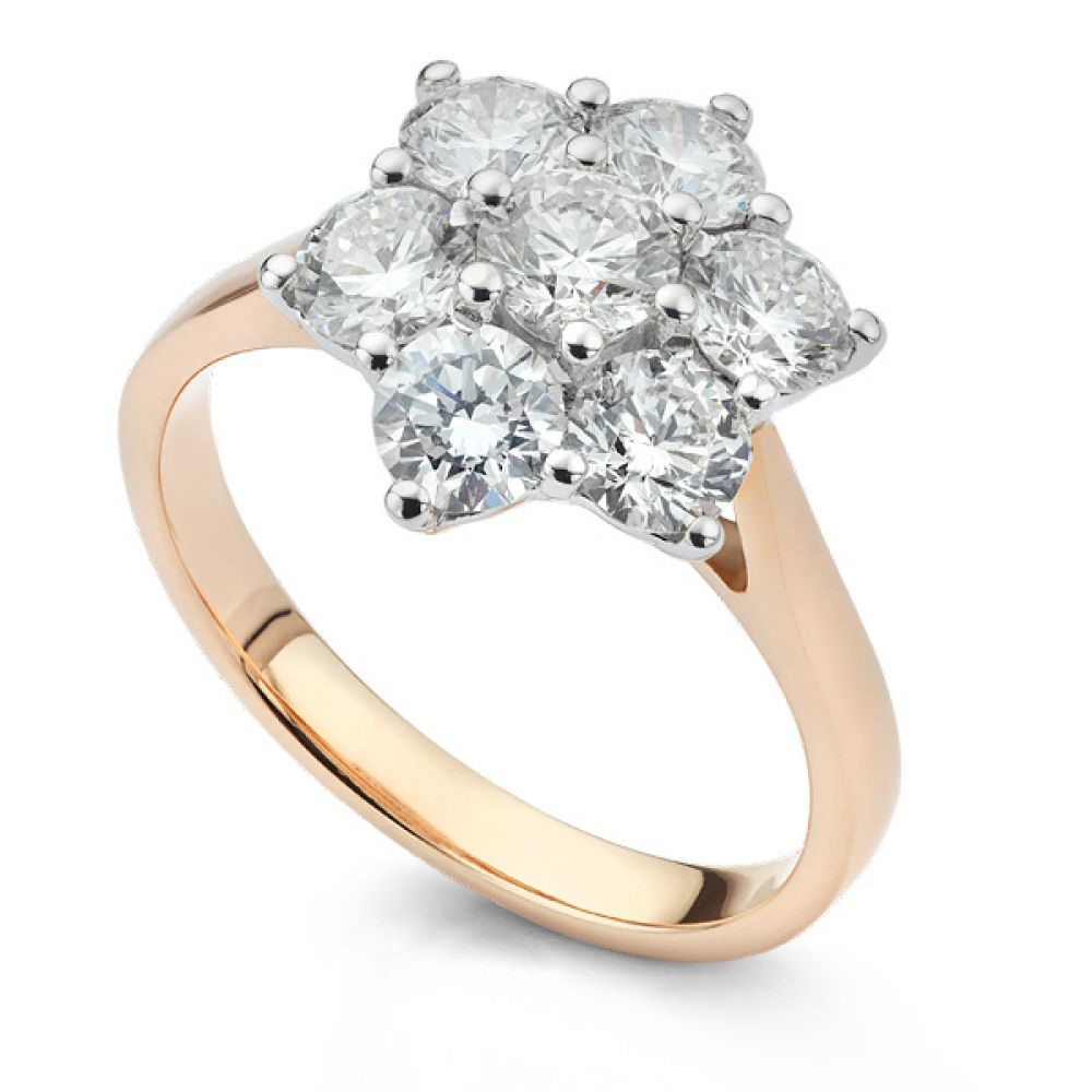 Daisy 7 Stone Diamond Cluster Engagement Ring Side View