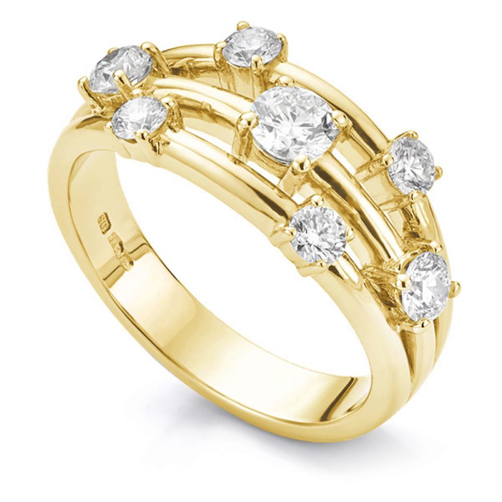 0.80 Carat 7 Stone Diamond Scatter Ring In Yellow Gold