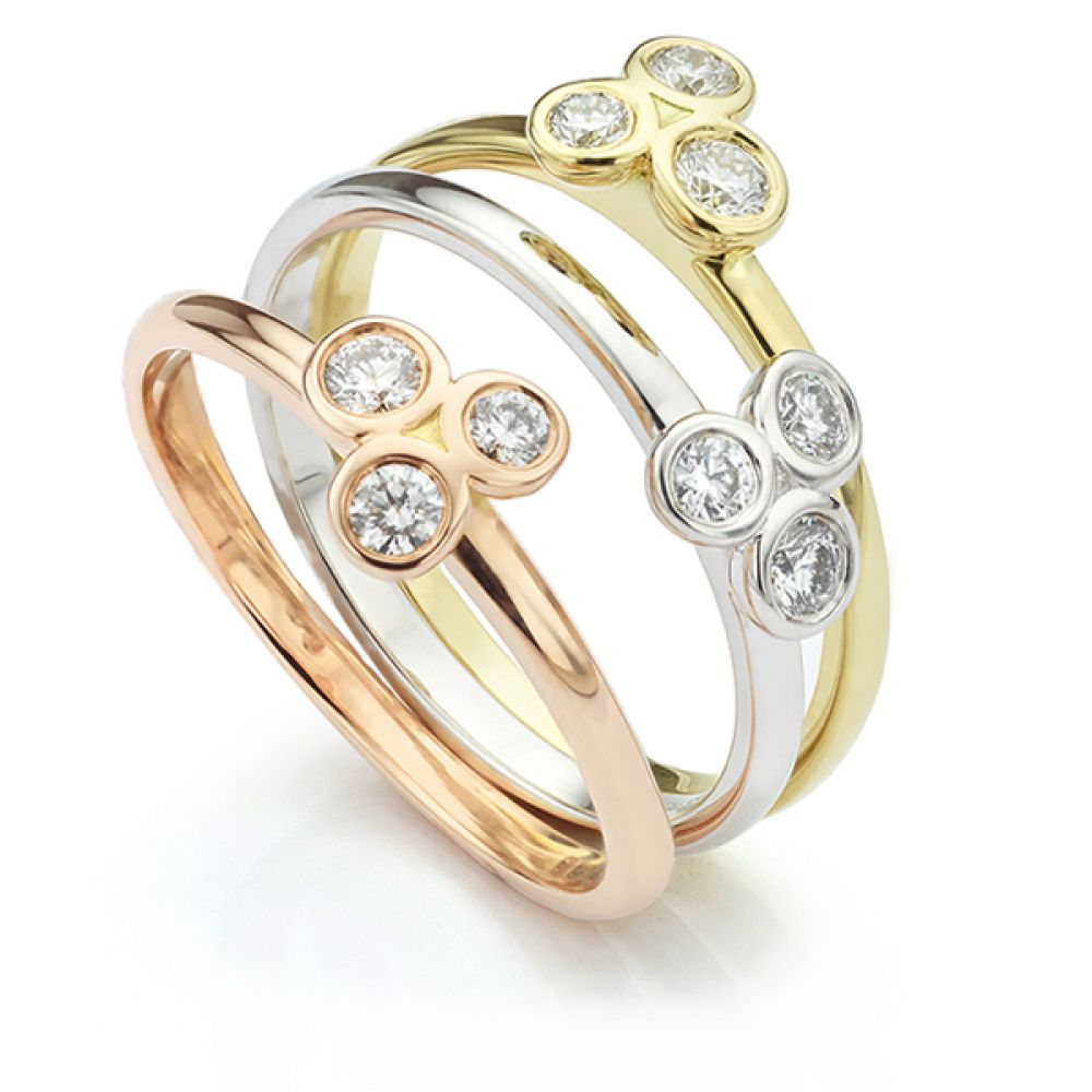 Clover Rose, White and Yellow Gold Trilogy Stacking Rings