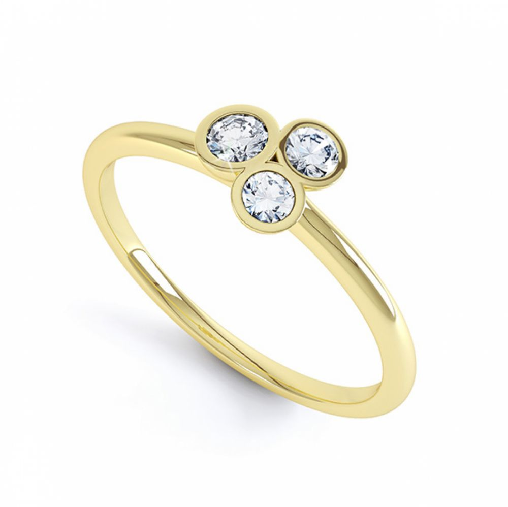 Rose, White and Yellow Gold Trilogy Stacking Rings In Yellow Gold