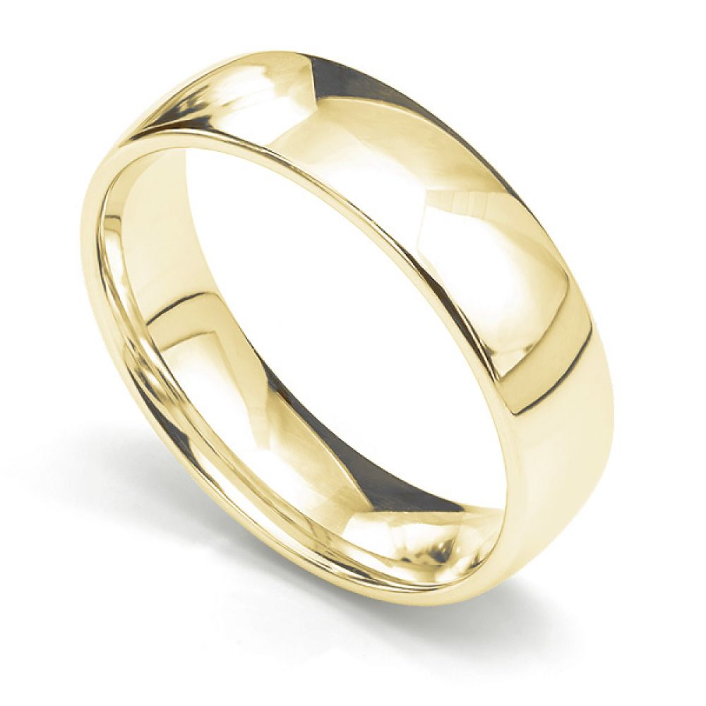 Medium weight slight court wedding ring 6mm in 18ct yellow gold