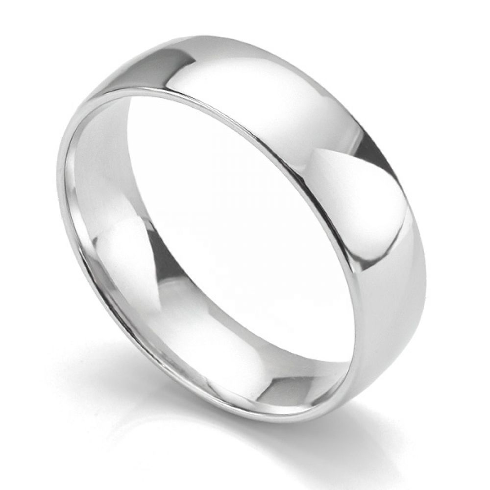 Slight court wedding ring light weight 18ct white gold 6mm wide