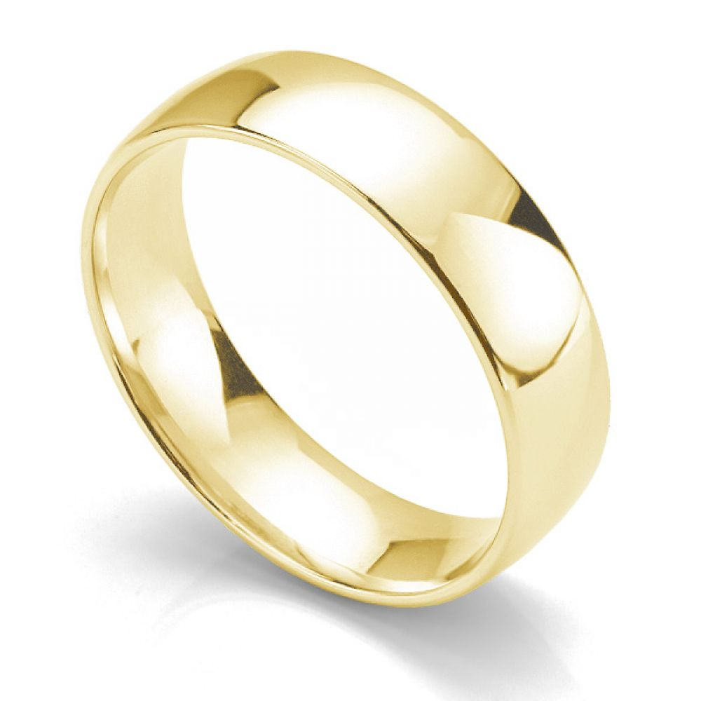 Slight court wedding ring light weight 18ct yellow gold 6mm wide