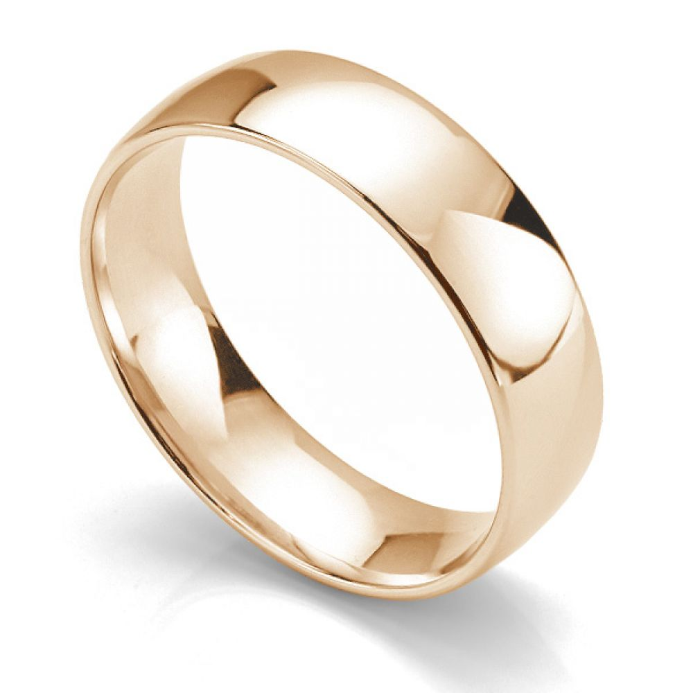 Slight court wedding ring light weight 18ct rose gold 6mm wide