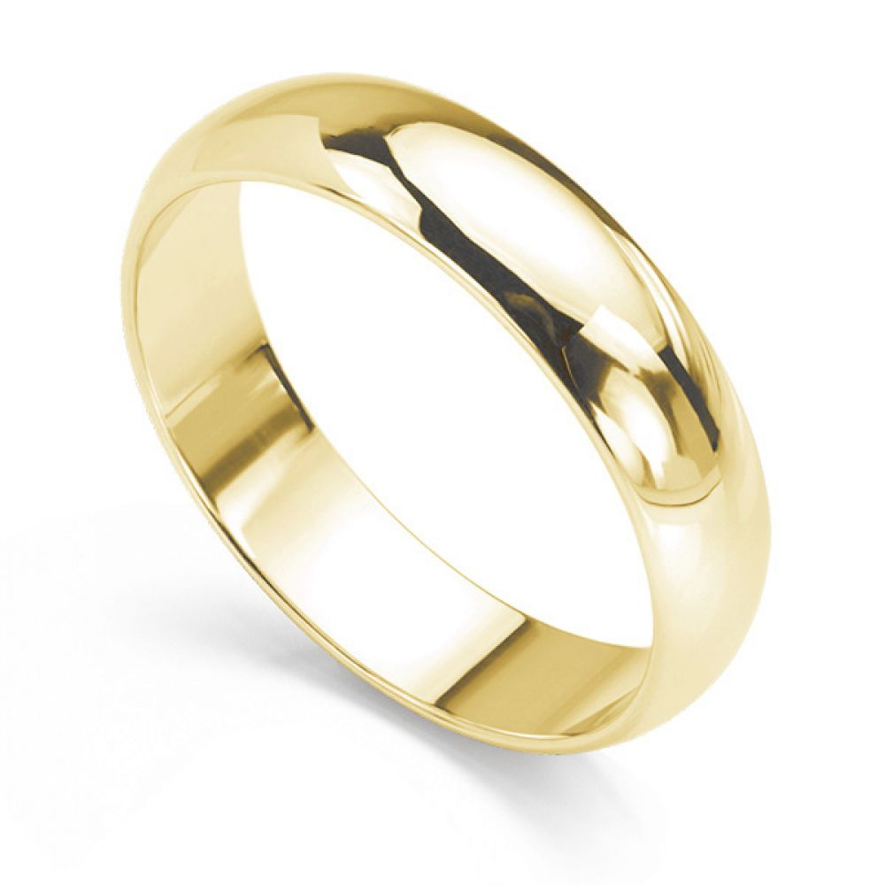 D Shape Wedding Ring Deep Comfort Fit In Yellow Gold