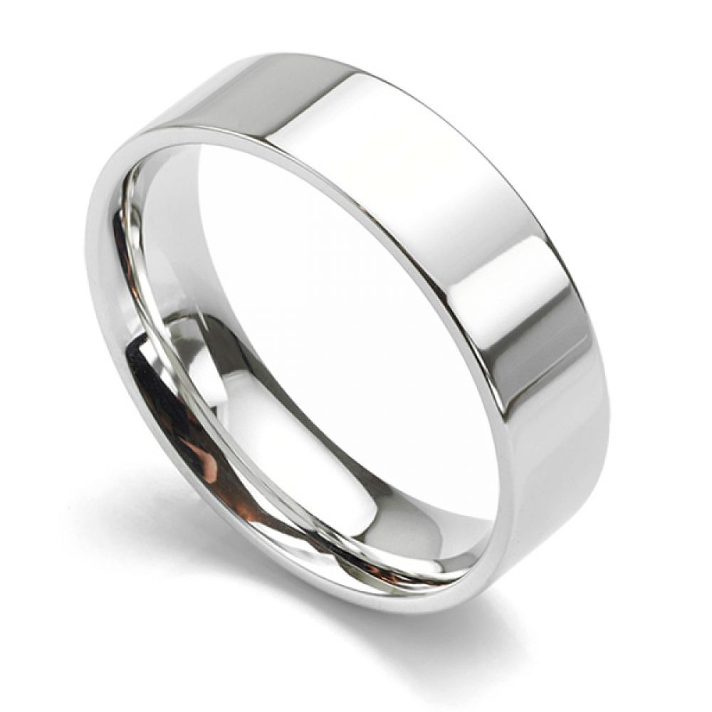 Flat Court Wedding Ring - Medium Weight 6mm White Gold