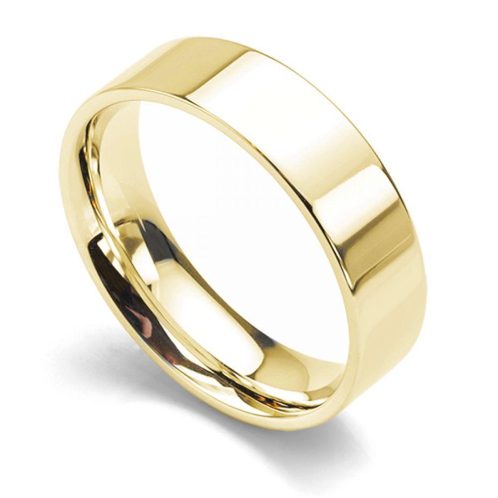 Flat Court Wedding Ring - Medium Weight 6mm White Gold