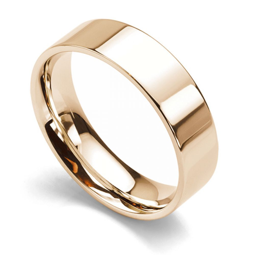 Flat Court Wedding Ring - Medium Weight 6mm Rose Gold