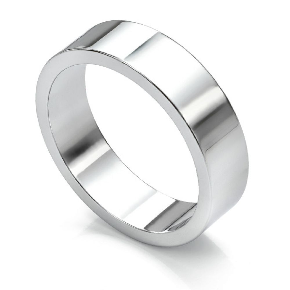 Flat wedding ring 6mm wide in white gold