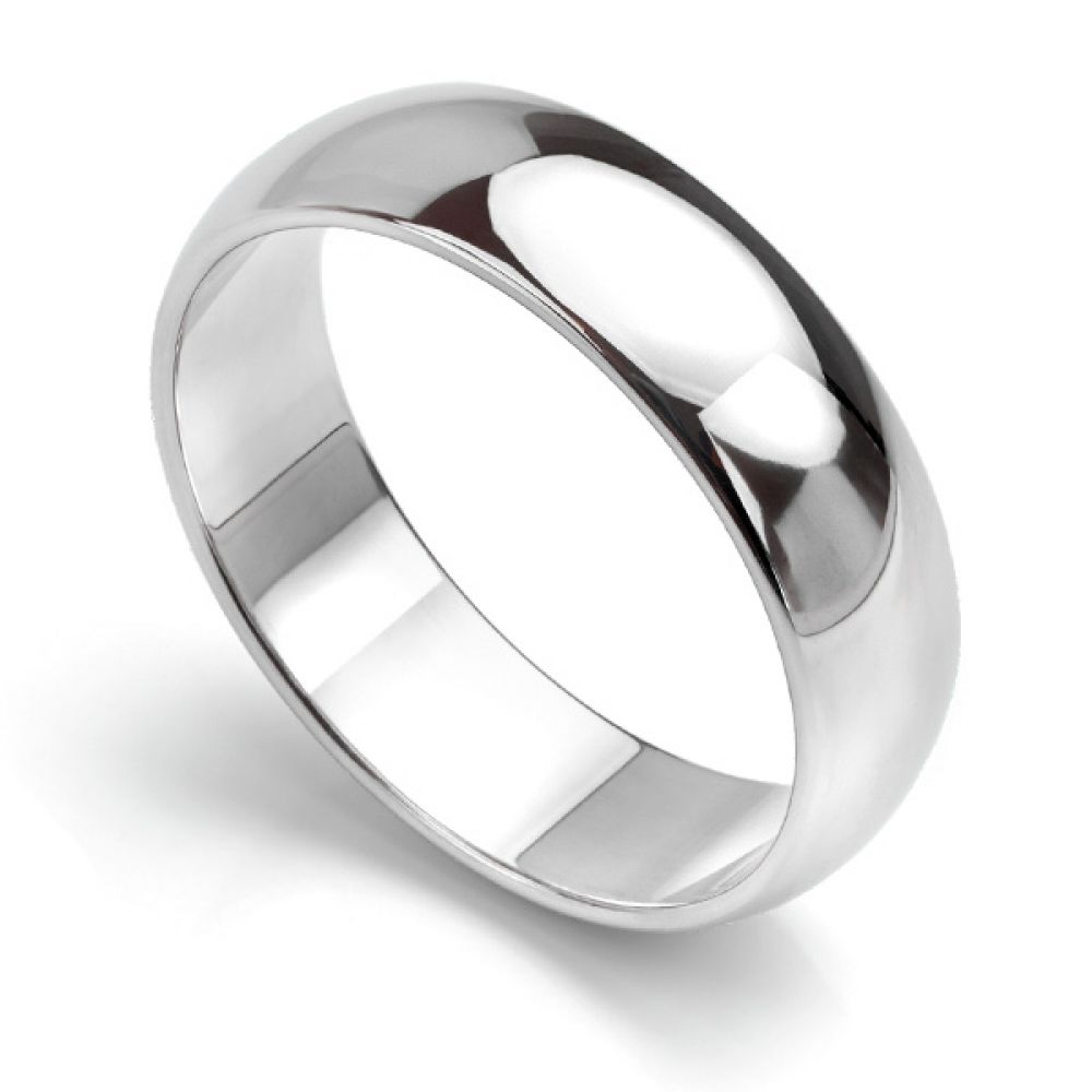 D shaped wedding ring low dome band white gold