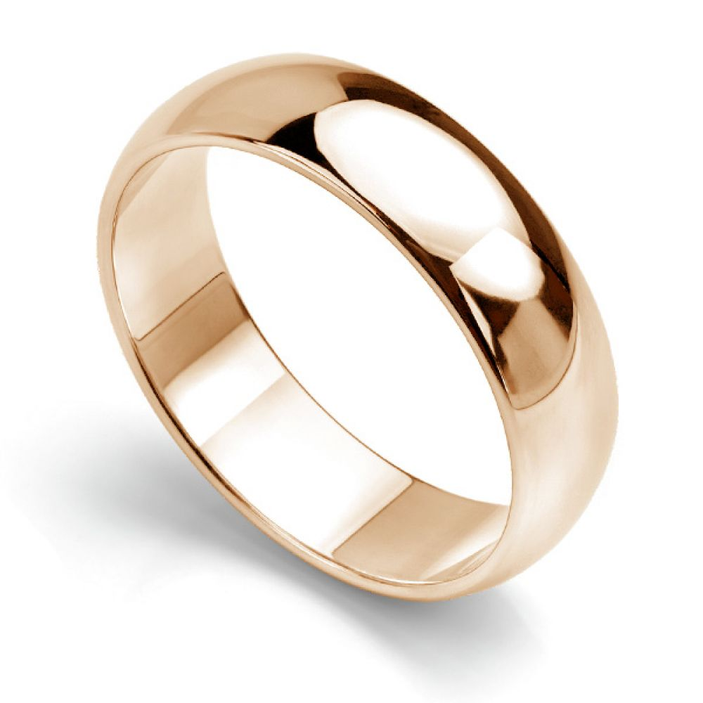 D shaped wedding ring low dome band rose gold