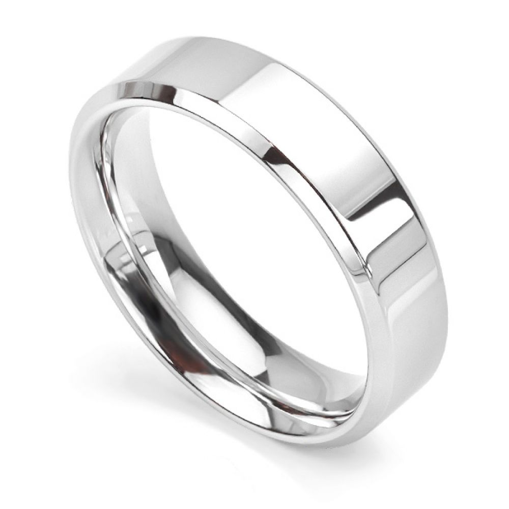 Bevelled Wedding Ring 6mm width, white gold