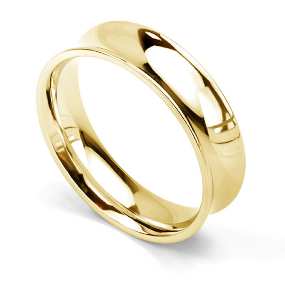 Concave wedding ring 6mm in yellow gold