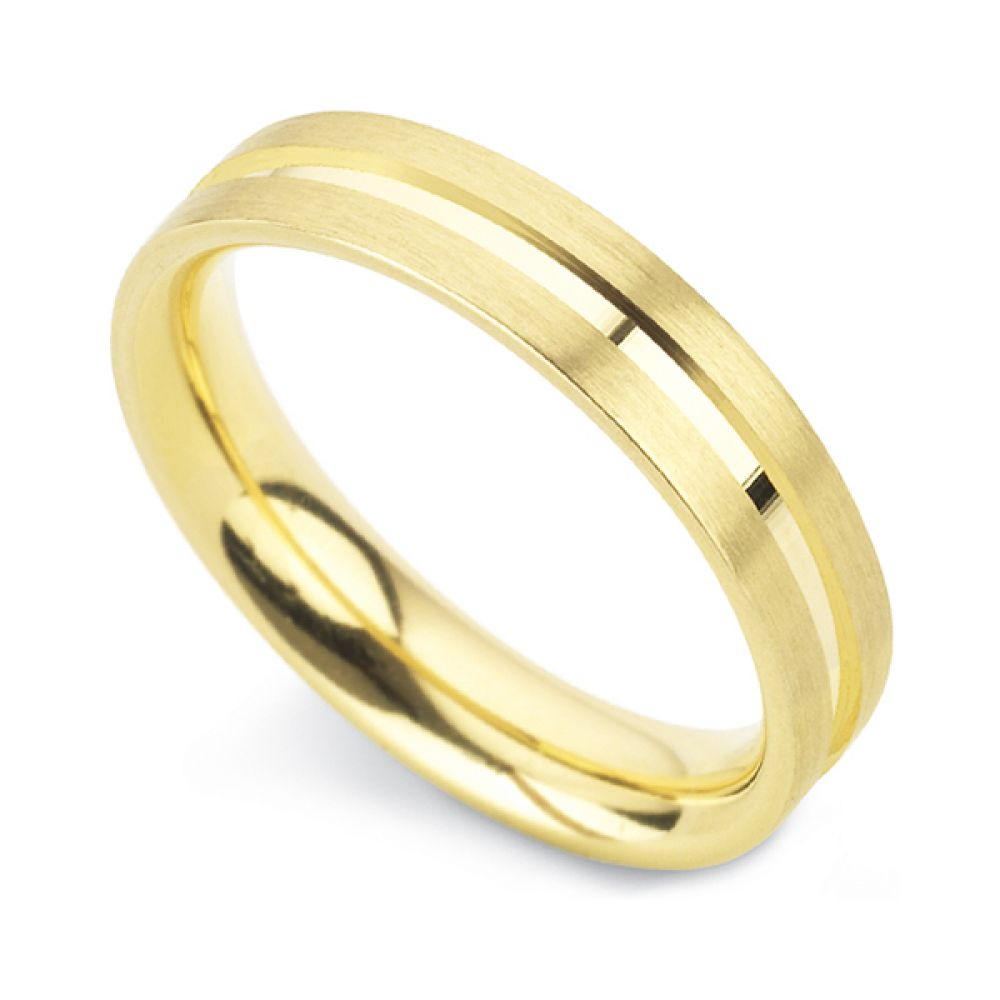 Patterned flat court wedding ring with line detail in yellow gold
